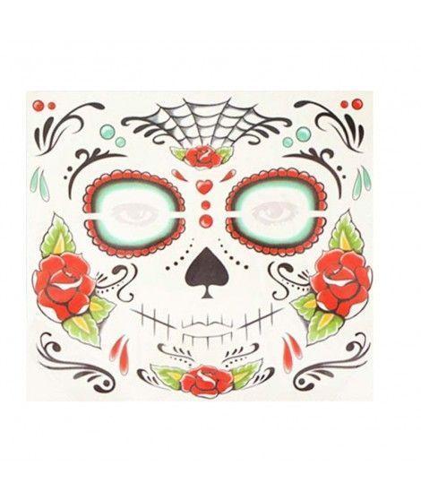 Tatuaje FX Facial Calavera Día de los Muertos Rosas Efectos Especiales