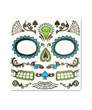 Tatuaje FX Facial Calavera Día de los Muertos Picas Efectos Especiales