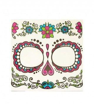 Tatuaje FX Facial Calavera Día de los Muertos Flores Efectos Especiales