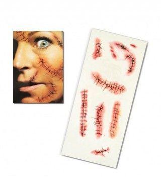 Tatuaje FX Heridas Cosidas y Grapadas (7 piezas) Efectos Especiales