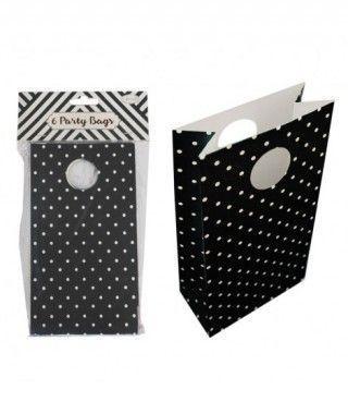 Bolsa de Papel para Fiesta, Cumpleaños, Regalos (6 unidades) Negro con Lunares