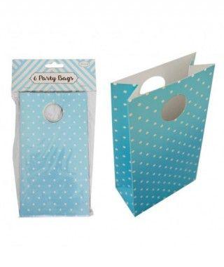 Bolsa de Papel para Fiesta, Cumpleaños, Regalos (6 unidades) Azul con Lunares