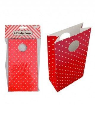 Bolsa de Papel para Fiesta, Cumpleaños, Regalos (6 unidades) Rojo con Lunares