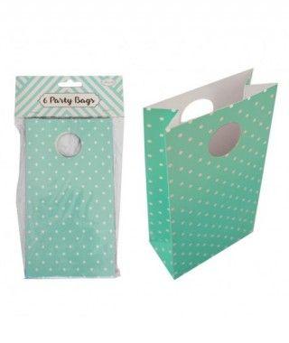 Bolsa de Papel para Fiesta, Cumpleaños, Regalos (6 unidades) Verde con Lunares