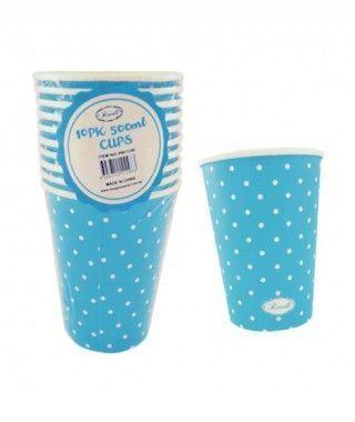 Vaso de Papel 500 ml (10 unidades) Azul con Lunares