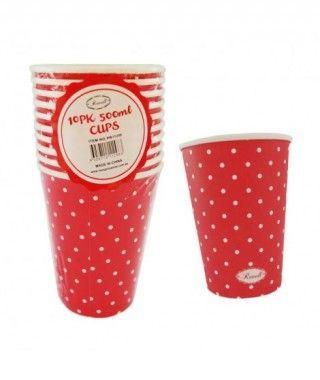 Vaso de Papel 500 ml (10 unidades) Rojo con Lunares