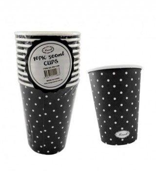 Vaso de Papel 500 ml (10 unidades) Negro con Lunares