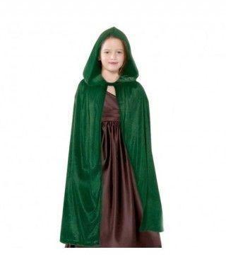 Capa Verde Terciopelo 90 cm para Disfraz