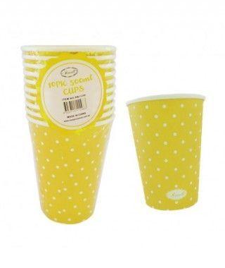 Vaso de Papel 500 ml (10 unidades) Amarillo con Lunares