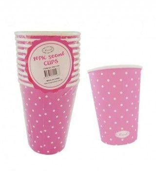 Vaso de Papel 500 ml (10 unidades) Rosa con Lunares