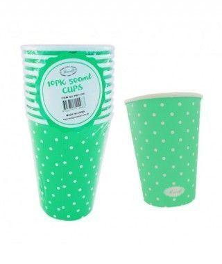 Vaso de Papel 500 ml (10 unidades) Verde con Lunares