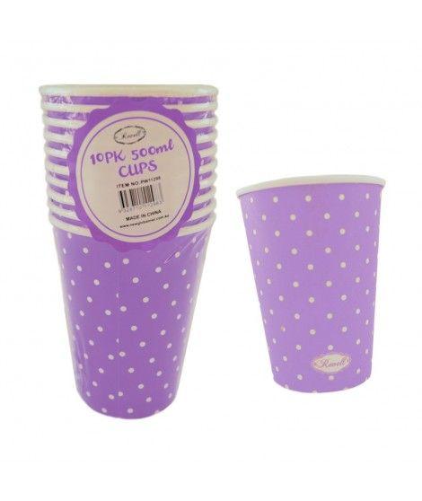 Vaso de Papel 500 ml (10 unidades) Lila con Lunares