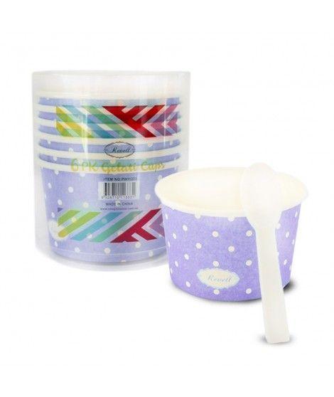 Tarrinas/Vasos de cartón para Helado 6OZ/180 ml con cucharillas (6 unidades) Lila con Lunares