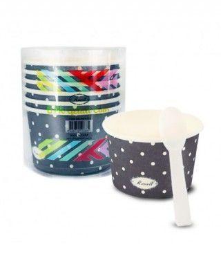 Tarrinas/Vasos de cartón para Helado 6OZ/180 ml con cucharillas (6 unidades) Negro con Lunares