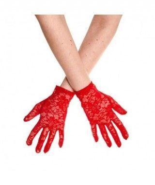 Guantes Encaje Rojo cortos