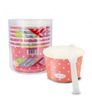 Tarrinas/Vasos de cartón para Helado 6OZ/180 ml con cucharillas (6 unidades) Rojo con Lunares