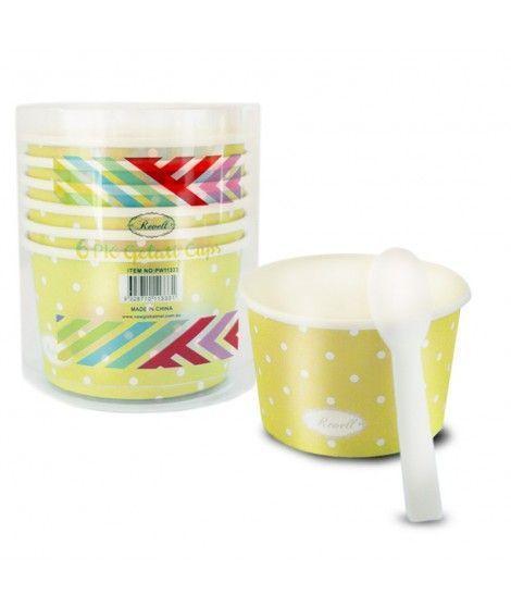 Tarrinas/Vasos de cartón para Helado 6OZ/180 ml con cucharillas (6 unidades) Amarillo con Lunares