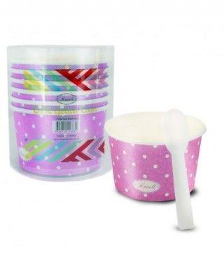 Tarrinas/Vasos de cartón para Helado 6OZ/180 ml con cucharillas (6 unidades) Fucsia con Lunares