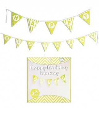 Guirnalda Banderines Happy Birthday (Feliz Cumpleaños) Amarillo (480 cm)