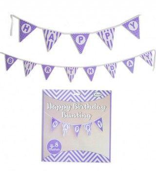 Guirnalda Banderines Happy Birthday (Feliz Cumpleaños) Lila (480 cm)