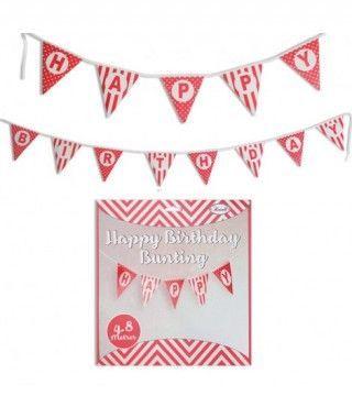 Guirnalda Banderines Happy Birthday (Feliz Cumpleaños) Rojo (480 cm)