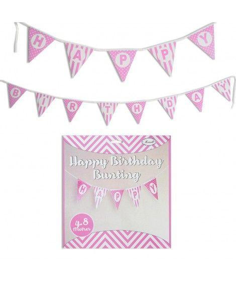Guirnalda Banderines Happy Birthday (Feliz Cumpleaños) Rosa (480 cm)