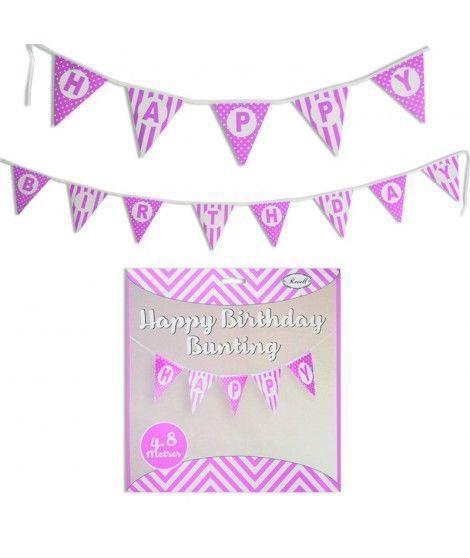 Guirnalda Banderines Happy Birthday (Feliz Cumpleaños) Fucsia (480 cm)