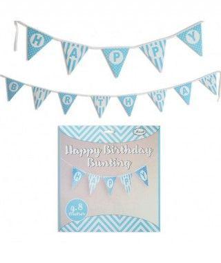 Guirnalda Banderines Happy Birthday (Feliz Cumpleaños) Azul (480 cm)