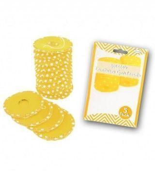 Farolillos de papel amarillo con lunares (5 unidades) Decoración Colgante Fiestas