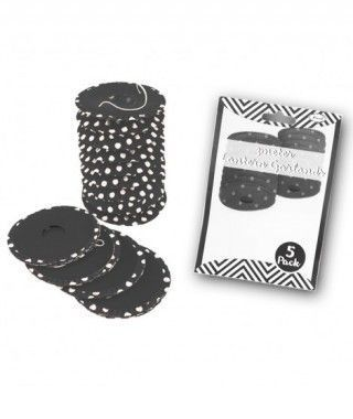 Farolillos de papel negro con lunares (5 unidades) Decoración Colgante Fiestas