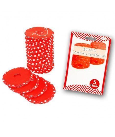 Farolillos de papel rojo con lunares (5 unidades) Decoración Colgante Fiestas