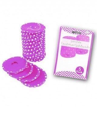 Farolillos de papel lila con lunares (5 unidades) Decoración Colgante Fiestas