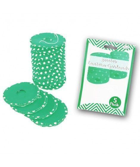 Farolillos de papel verde con lunares (5 unidades) Decoración Colgante Fiestas