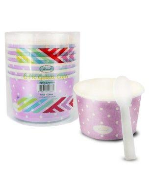 Tarrinas/Vasos de cartón para Helado 6OZ/180 ml con cucharillas (6 unidades) Rosa con Lunares