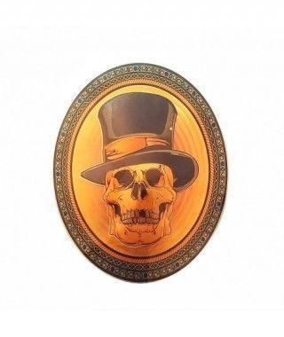 Pegatina Ovalada de Pared Calavera Chistera Efecto Relieve Decoración Halloween