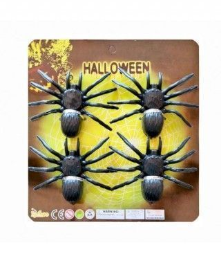 Set Cuatro Tarántulas (9 cm) Decoración Halloween