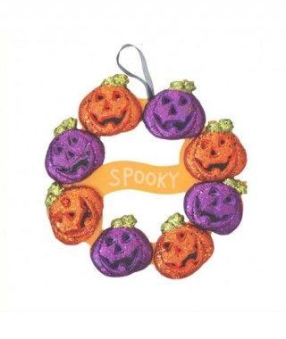 Colgante Medallón Calabazas Spooky Decoración Halloween de espuma rígida y purpurina