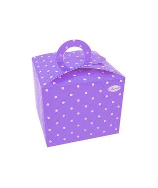 Cajas Cupcake con Asa Lunares Lila (4 uds)