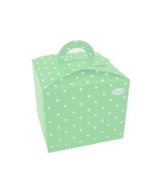 Cajas Cupcake con Asa Lunares Verde (4 uds)