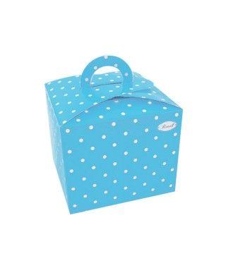 Cajas Cupcake con Asa Lunares Azul (4 uds)