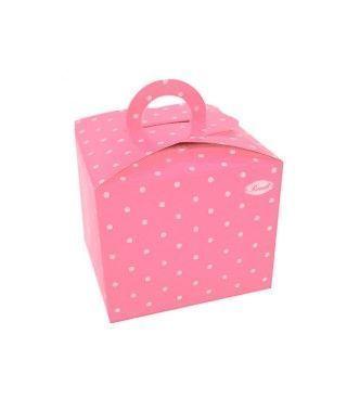 Cajas Cupcake con Asa Lunares Rosa (4 uds)