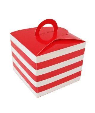 Caja Cupcakes con Asa Rayas Roja