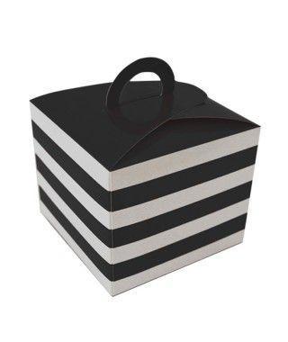 Caja Cupcakes con Asa Rayas Negra