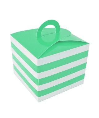 Caja Cupcakes con Asa Rayas Verde