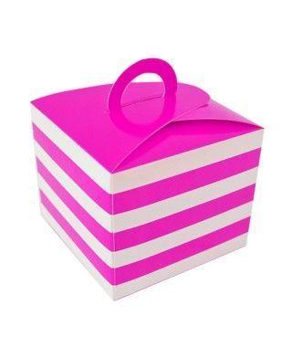 Caja Cupcakes con Asa Rayas Fucsia