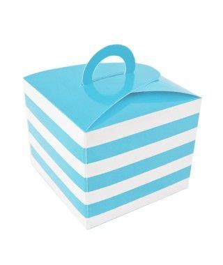 Caja Cupcakes con Asa Rayas Azul
