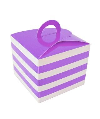 Caja Cupcakes con Asa Rayas Lila