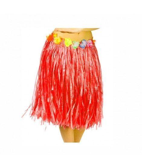 Falda Hawaiana Adulto Hula Roja (60 cm)
