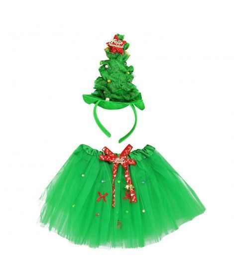 Conjunto Navidad Tutú y Diadema Árbol Navidad Verde