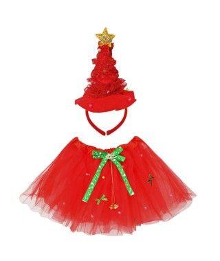 Conjunto Navidad Tutú y Diadema Árbol Navidad Rojo